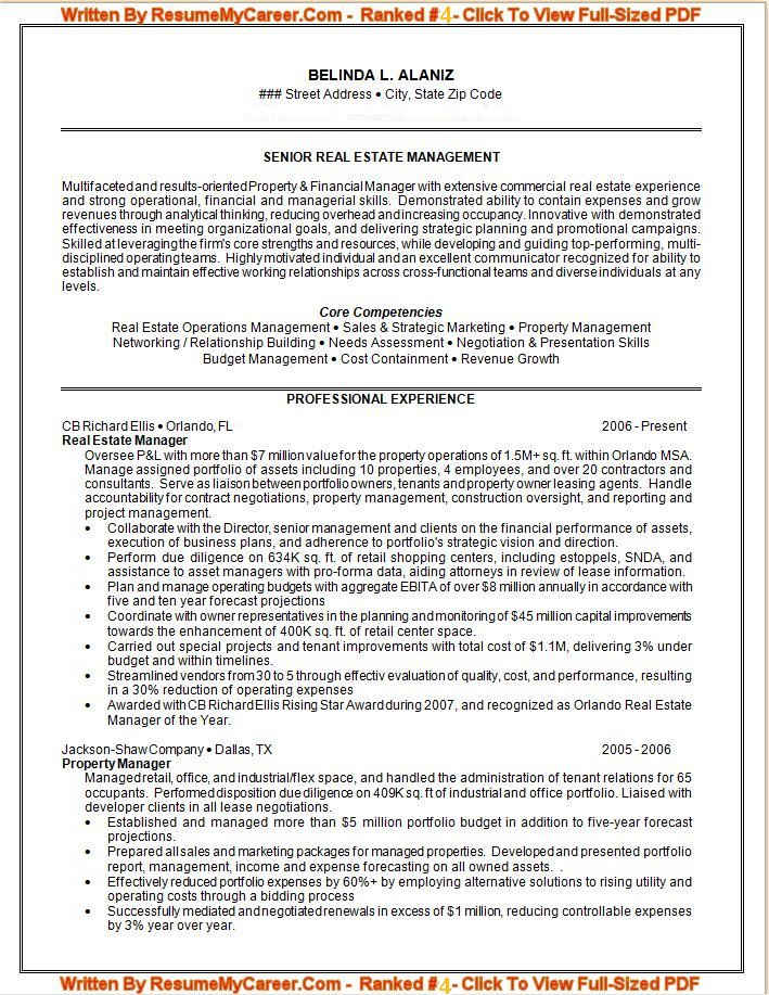sample resume for senior real estate management - Professional Resume