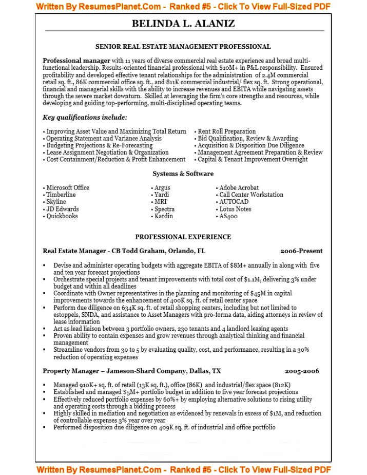 sample resume for senior real estate management professional - Real Estate Manager Resume
