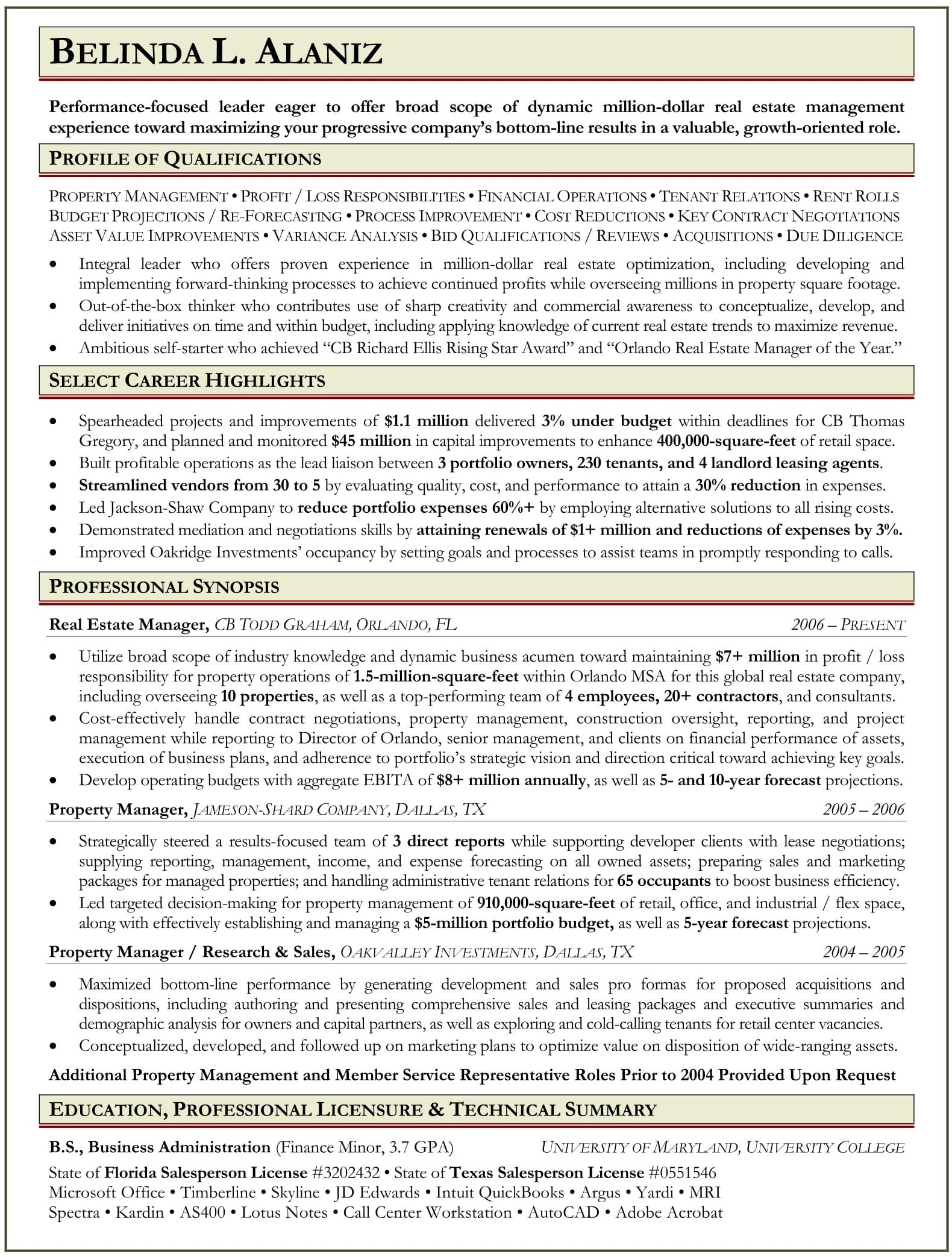 sample resume for property manager ranked 1